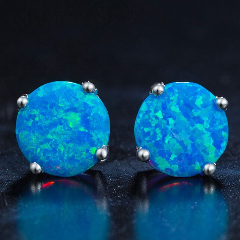 1 Pair Silver Plated Blue Opal Circle Earrings 6MM Mini Round For Women Fashion Jewelry in Hoop Earrings from Jewelry Accessories