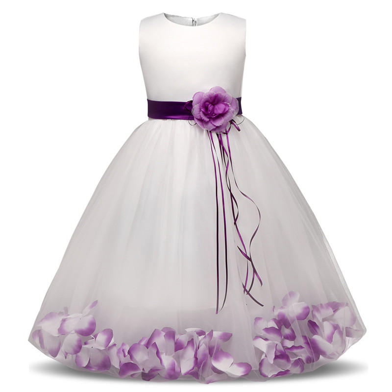 Flower Dress With Flowers/Ribbons Tulle Dresses Birthday Party Wedding Ceremonious Kid Clothes Gown Kids