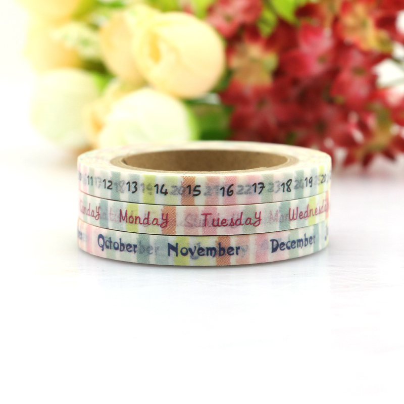 3PCS New Weekly Planner DIY Washi Paper Sticker Tape Date Scrapbooking Date Masking Tape Home Decoration Free Shipping