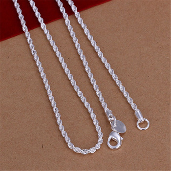 16-24INCHES Free shipping Beautiful fashion Elegant silver color women men 2MM chain cute Rope Necklace Can for pendant N226 2