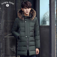 Mens Winter Thick Warm Down Jacket True Fur Fashion Long Coat Duck Down Stand Collar Removable