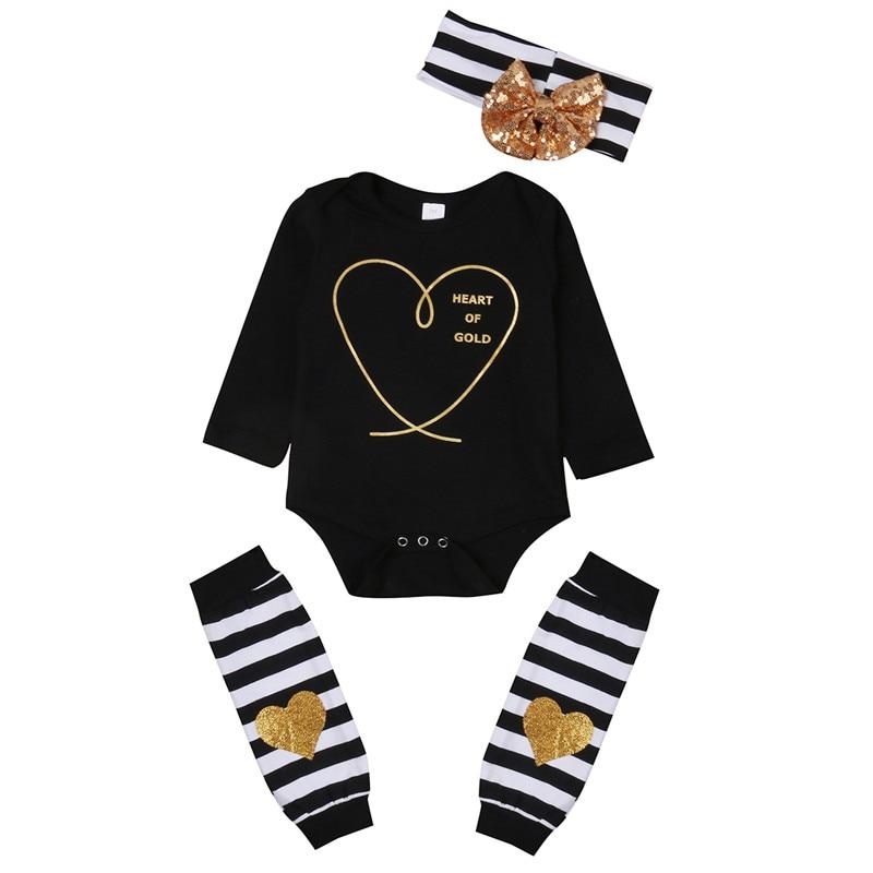 Pasgeboren Kids Baby Jongen Meisje Infant Gold Hart Gestreepte Jumpsuit Bodysuit + Boog Hoofdband + Been Warmer Kleding Outfit Baby Set Zo Effectief Als Een Fee Doet