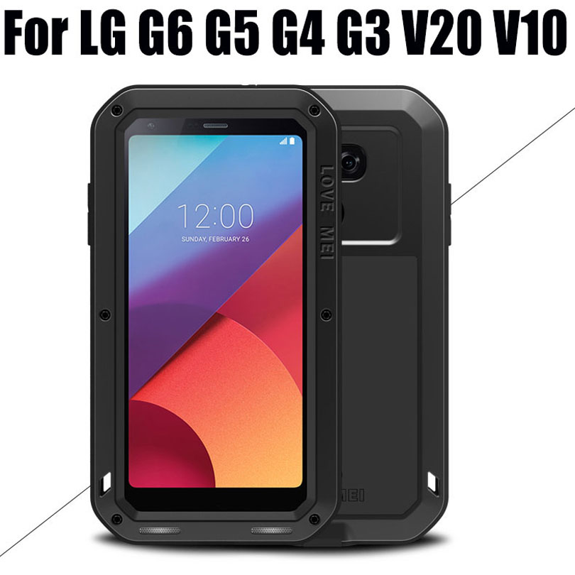 Cover For LG G6 G5 G4 G3 V20 V10 Original Lovemei Aluminum Metal + Gorilla Glass Shock Drop Waterproof case for LG G6 LG601