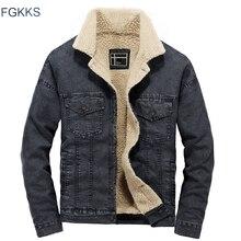 FGKKS ฤดูหนาว WARM Men DENIM Coat 2020 ชายเสื้อแจ็คเก็ตแฟชั่นผู้ชายคุณภาพสูงคาวบอยแจ็คเก็ต Outerwear