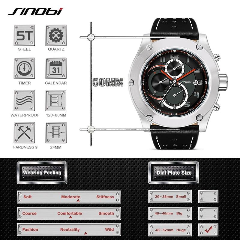 Image 3 - 2019 SINOBI Chronograph Calendar Waterproof Geneva Quartz Clock Military Hora Relogio Masculino Big Dial  Sports Quartz Watches-in Quartz Watches from Watches