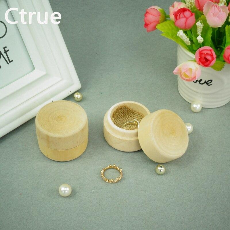 1pcs 소박한 결혼 반지 상자 나무 약혼 반지 상자 소박한 결혼식 훈장 빈티지 장식