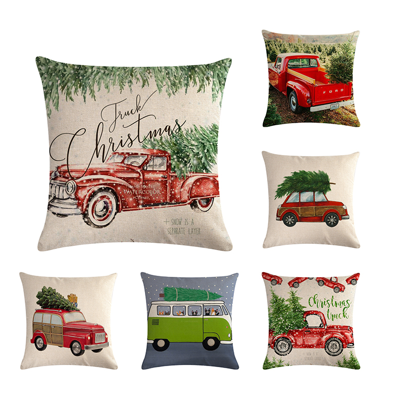 Christmas Xmas Linen Cushion Cover Throw Pillow Case Home: Christmas Cotton Linen Sofa Car Home Waist Cushion Cover
