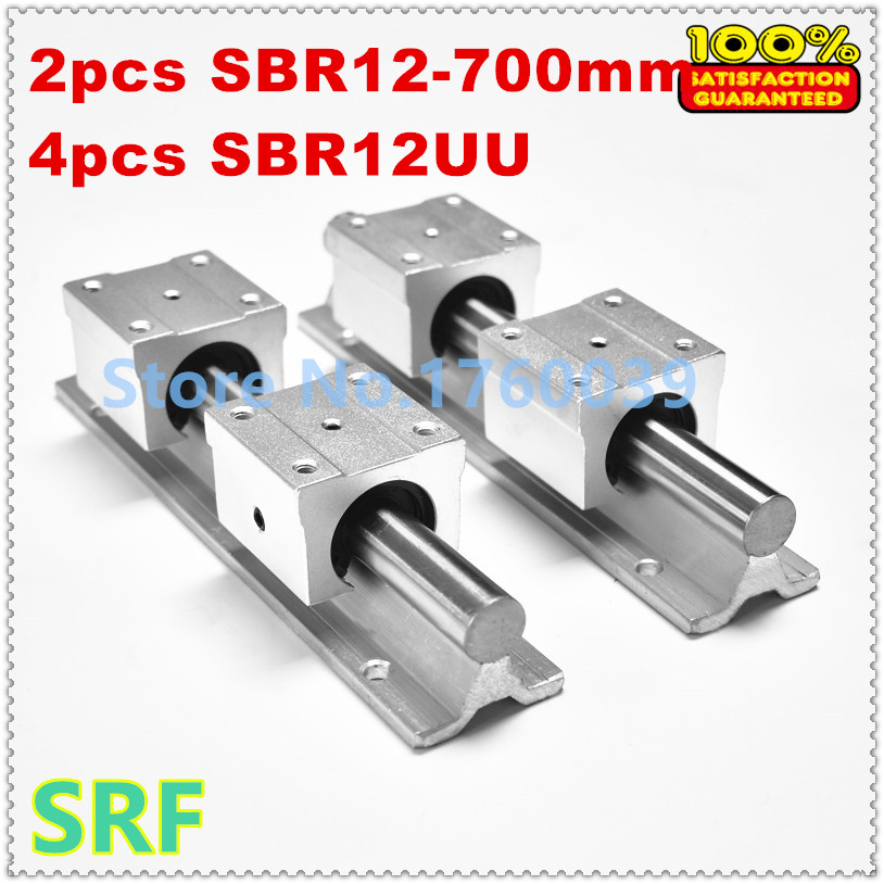 Best price!2pcs SBR12 L700mm linear rail shaft supports+4pcs SBR12UU Bearing slide  block for cnc best price 5pin cable for outdoor printer