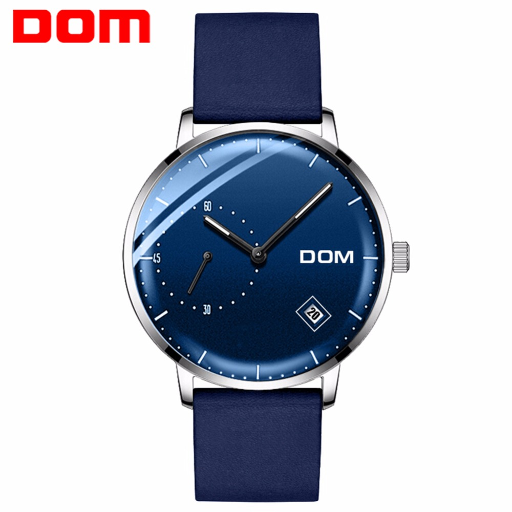 DOM Watch Men Luxury Business Blue Face Simple Man Watch Waterproof Calendar Unique Fashion Casual Quartz Male Dress Clock M-302 mike 8831 men s business casual quartz watch silver blue