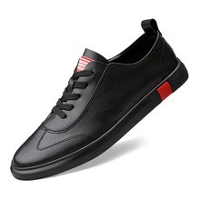 Men Genuine Leather Casual Shoes Men Lace Up New Fashion Sneakers Rubber Sole Non-slip Leather Flats trend wild student C4 недорого