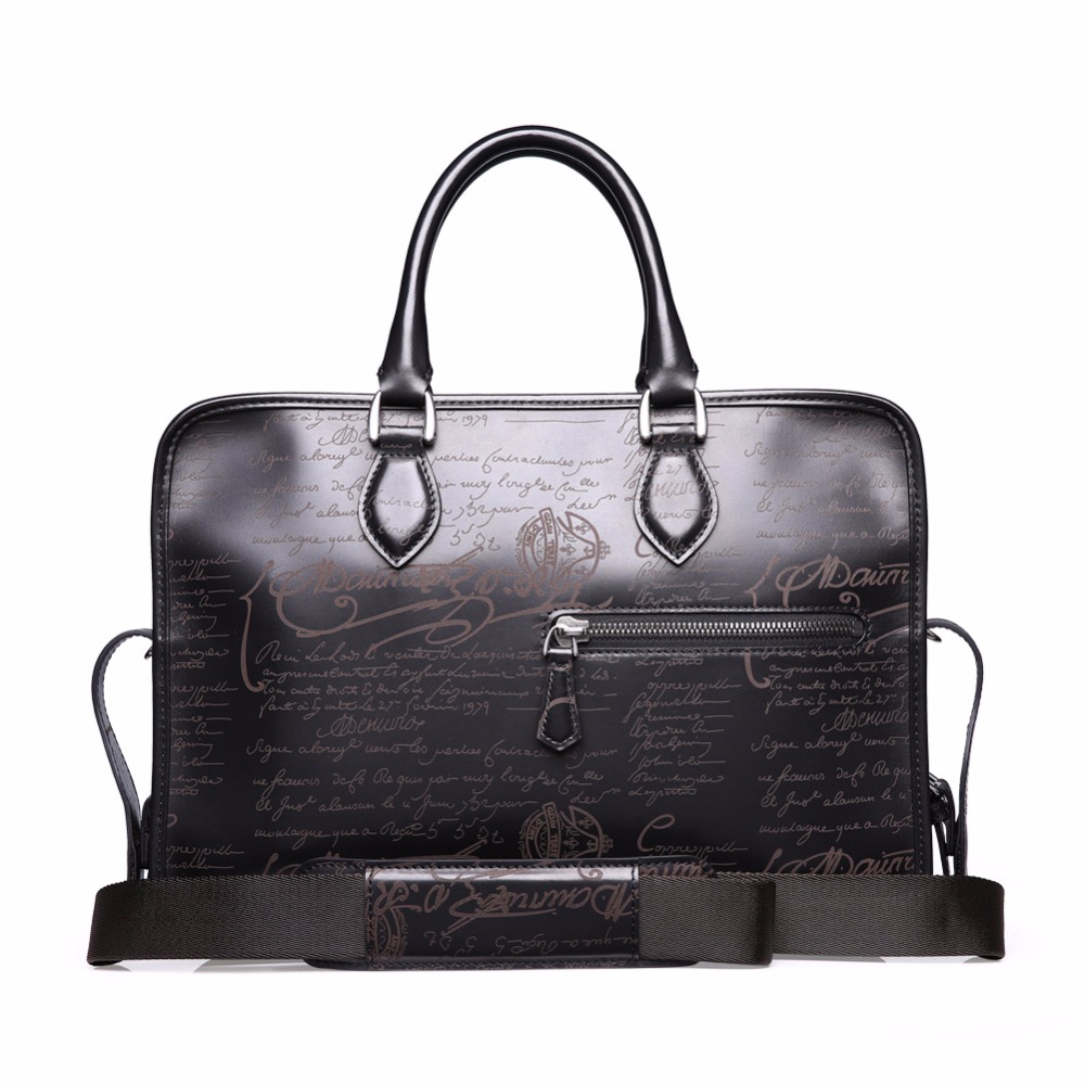 TERSE Hot Selling Men Briefcase Fashion Lettering Men Dress Bag 3 Colors in Stock Handmade Genuine Leather Bag Dropshipping