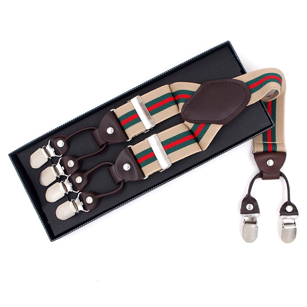 6 Clips Fashion Mens Striped Suspenders Straps , Trousers Braces Elastic Y-Back Adjustable Suspenders