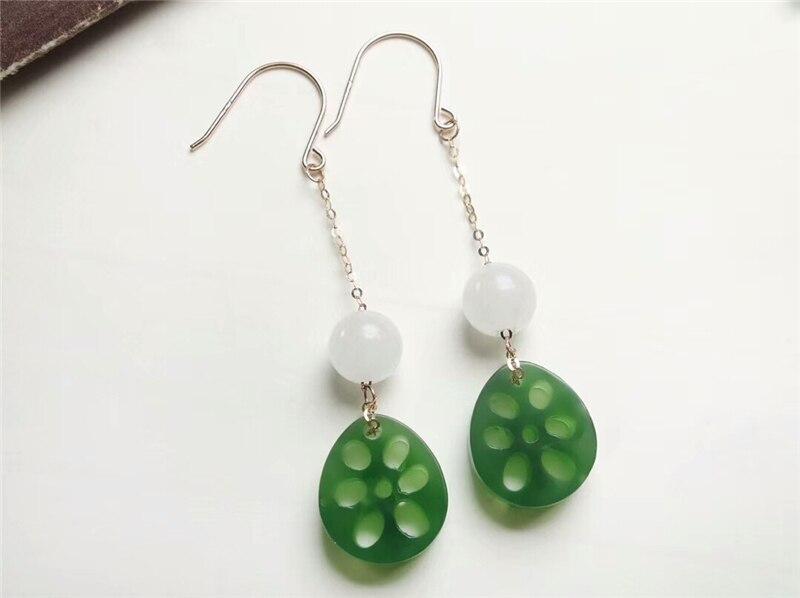 Koraba véritable or 18 K incrusté naturel Hetian vert Jade blanc pierres précieuses Lotus boucles d'oreilles noël Jade bijoux