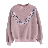Good Quality Embroidery Flowers Stand Collar Lamb Wool Loose College Wind Hoodies
