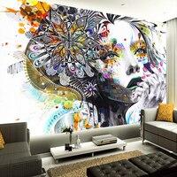 Özel 3D Duvar Kağıdı Soyut Renk Sanat Rakamlar Fotoğraf Duvar duvar KTV Bar Galeri Tema Otel Zemin Duvar Papel De Parede