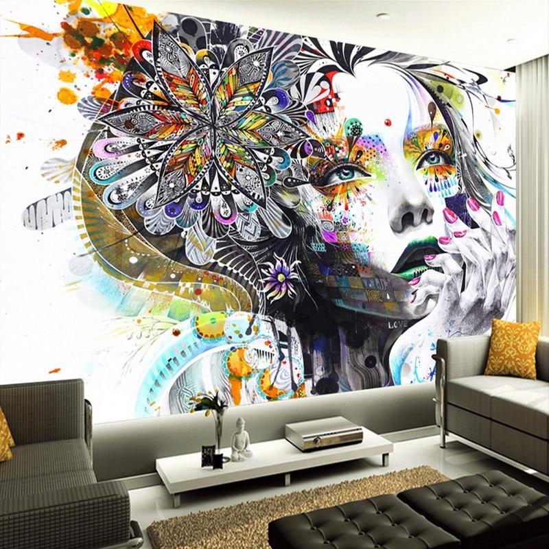 Custom 3D Mural Wallpaper Abstract Color Art Figures Photo Wall Mural KTV Bar Gallery Theme Hotel Backdrop Wall Papel De Parede