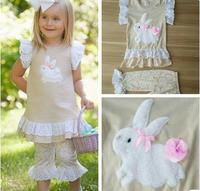 New Arrival Girls Clothing Set Beige Color Bunny Pattern Butterfly Sleeve Top Print Pant For Easter