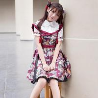 2017 Spring Lolita Girl Fashion Brand Ghost Pattern Printing Cotton Strap Dress Japanese Daily Style Soft