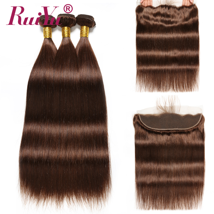 Straight Hair Bundles With Frontal Brazilian Hair Weave Bundles Light Brown Colored Lace Frontal With Bundles