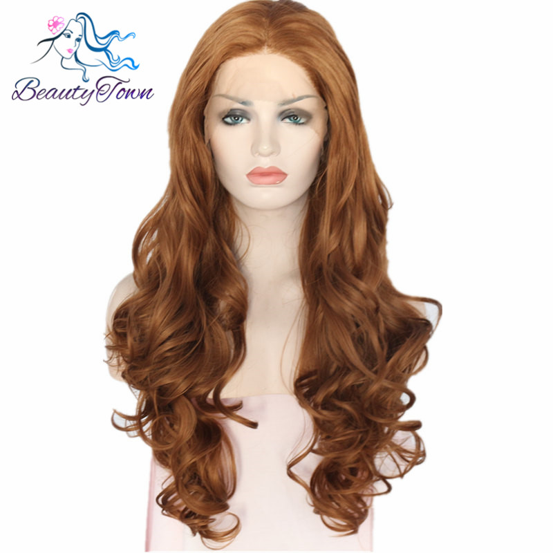 BeautyTown Brown Color Heat Resistant Hair Hand Tied Perruque Masquerade Synthetic Lace Front Party Daily Wigs