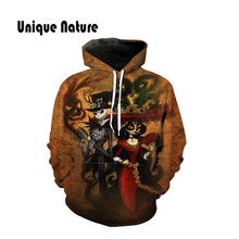 Unique Nature Clown Print Hoodies 3D Hooded Sweatshirts Long Sleeve Mens Outwear Cute Design Pullover with Hat Dropshipping