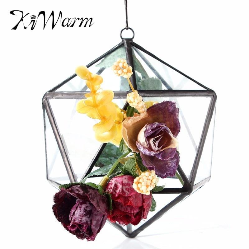 KiWarm Modern Irregular Glass Geometric Terrarium Box Tabletop Succulent <font><b>Plant</b></font> Planter Glass Craft Flower Vase Decoration