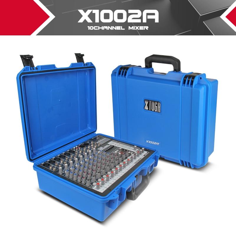 Xtuga Portatile audio mixer console Audio amplificatore di Potenza integrato 300 W * 2 48 V phantom power 16 tipi di ECO digitale party DJ