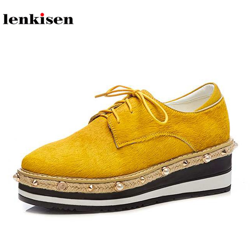 Lenkisen fashion square toe horsehair high heel solid causal shoes wedges pearl rivet decoration concise lace up women pumps L68