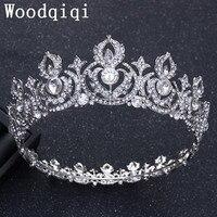 Woodqiqi Korean Princess Big Crown Wedding Jewelry Headdress European Bride Round Crown Headdress Hair Ornaments Round
