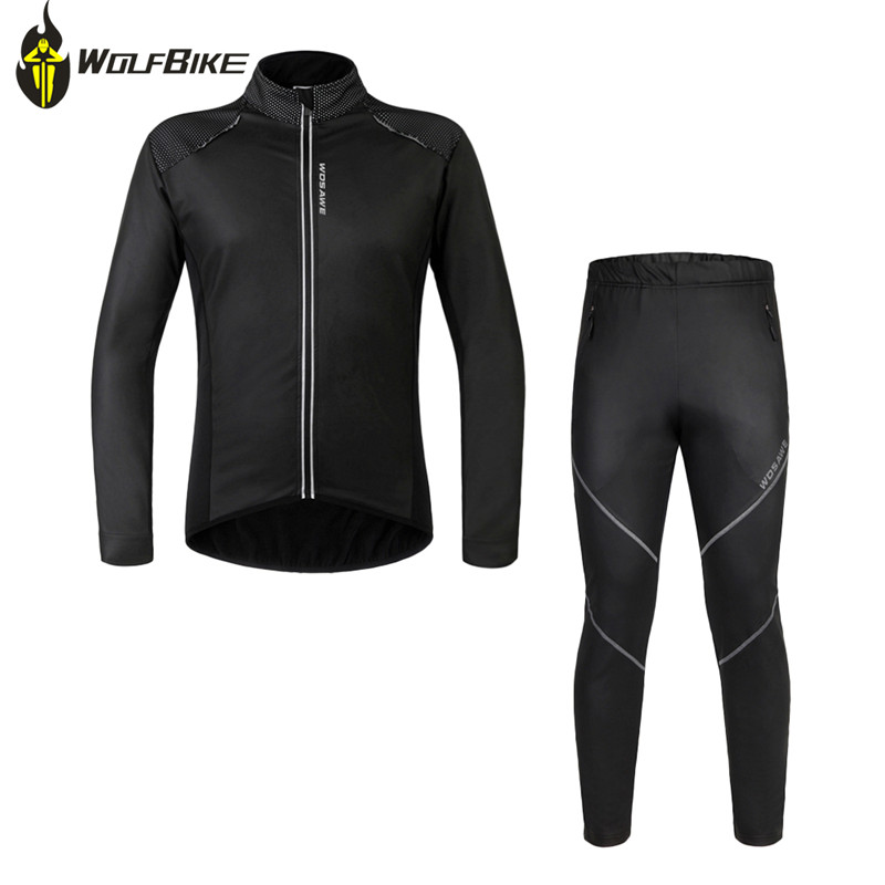 WOSAWE Winter Cycling Jacket Sets Waterproof Windproof Long Sleeve Bike Riding Coat Pants Suits Men Women Bicycle Clothing winter men outdoor running jacket suits cycling suits long sleeve jacket tights pants sport wear sets