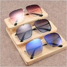 FEISHINI Celebrity Sunglasses Men Brand Design Retro Red Rimless Frame Gradient Lens Fashion Brown Sunglass Shield Original 2019