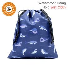 BONAMIE Shark Pattern Drawstring Bag For Wet Clothes Diaper Fashion Women Beach Bikini Girl Handbag Sloth Alpaca