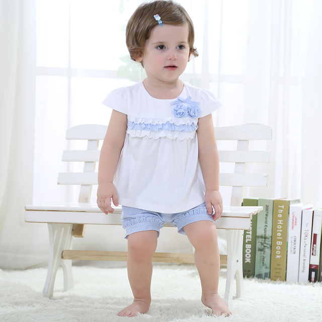 Easter Gift Summer Cotton Children Clothing Sets Top+Pants Baby Girl Dress Lace Pattern Kawaii Baby Girl Clothes Nice Home Wear