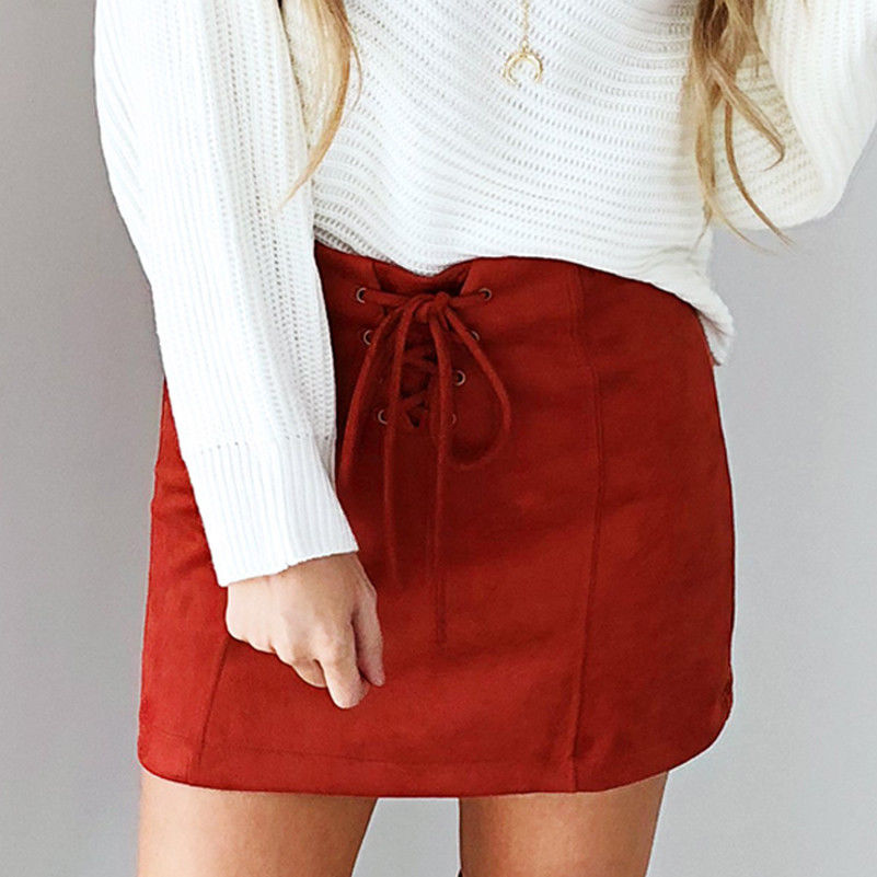 New Hot Summer Women Suede Skirt Lace Up High Waist Pencil Bandage Mini Pencil Skirts