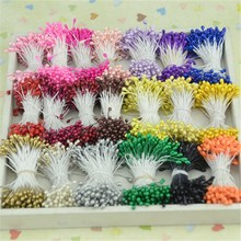 3mm 300pcs Double heads Mini Pearl Stamen Sugar Artificial Flower  For Wedding Decoration DIY Scrapbooking Wreath Fake Flowers