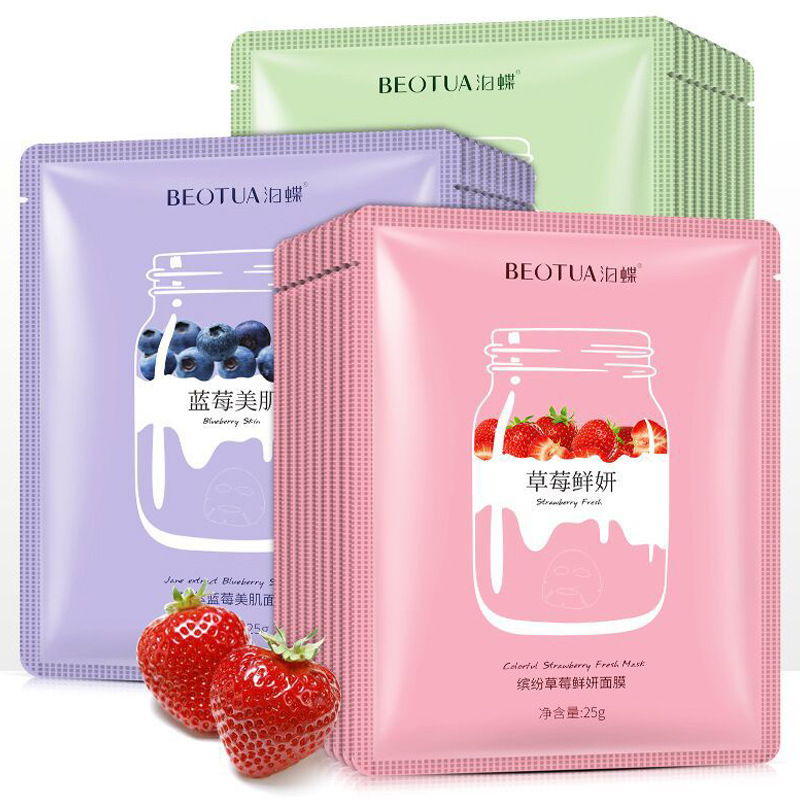 BEOTUA Plant Extract Moisturizing Face Sheet Mask Oil Control Brighten Skin Care Anti Aging Acne Fruit Unisex Whole Face Mask