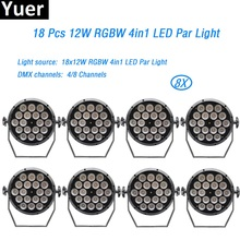 8Pcs/Lot 18x12w led lamp 4/8 channels led Par lights RGBW 4in1 flat par led dmx512 disco lights professional stage dj equipme цена