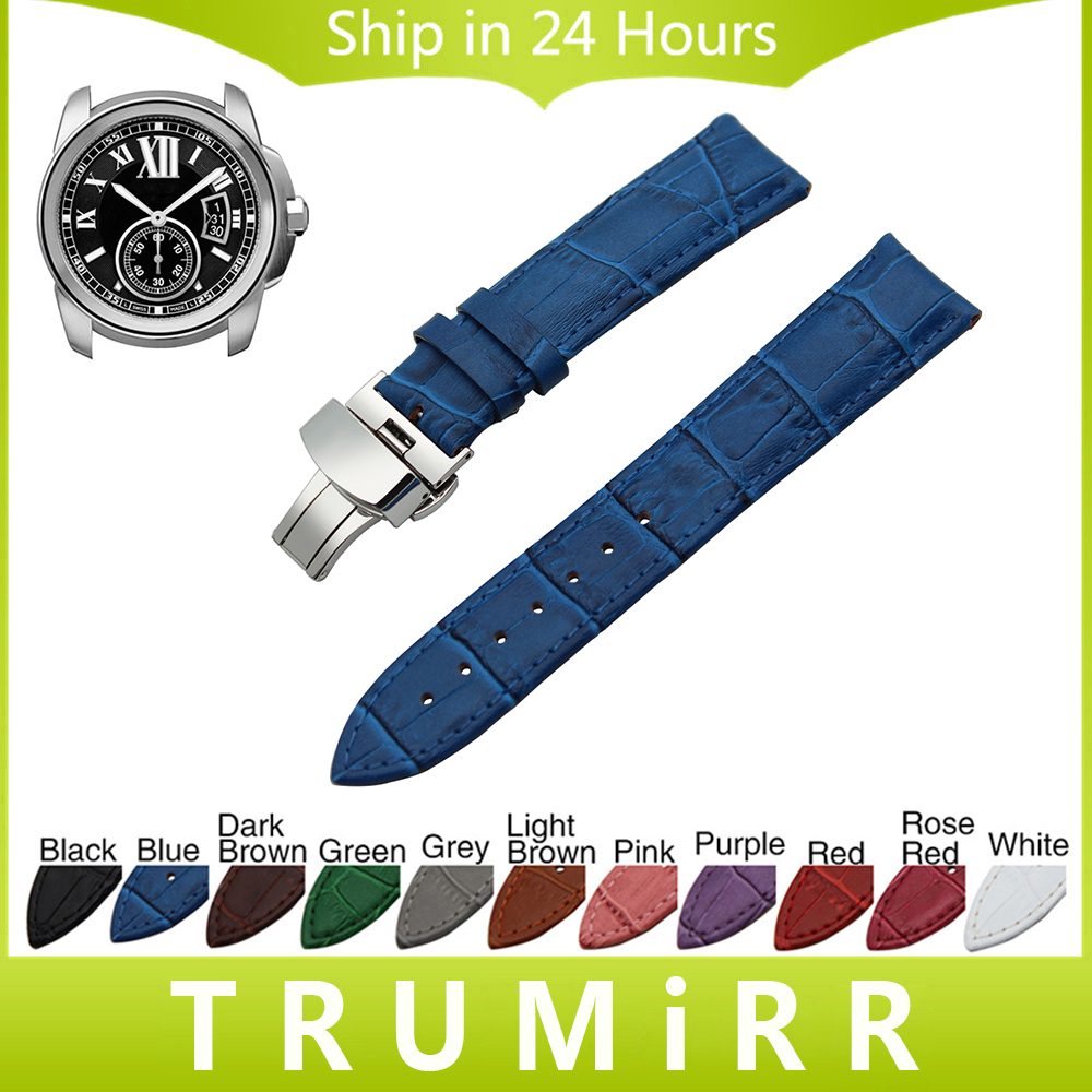 Genuine Leather Watch Band Butterfly Clasp Strap for Cartier Tank Santos Ronde Wrist Bracelet 18mm 19mm