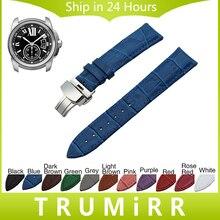 Véritable bande de montre en cuir butterfly fermoir sangle pour cartier réservoir Santos Ronde Solo Poignet Bracelet 18mm 19mm 20mm 21mm 22mm 24mm