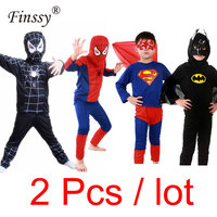 2pcs Lot Black Red Spiderman Batman Superman Cosplay Costume For Boys Party Dress Halloween Carnival Costume
