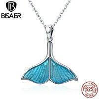 Bisaer اصلي 925 فضة الأزرق الأسماك ذيل ذيول الحيتان قلادة قلادة للنساء الأزياء والفضة والمجوهرات colar ECN096
