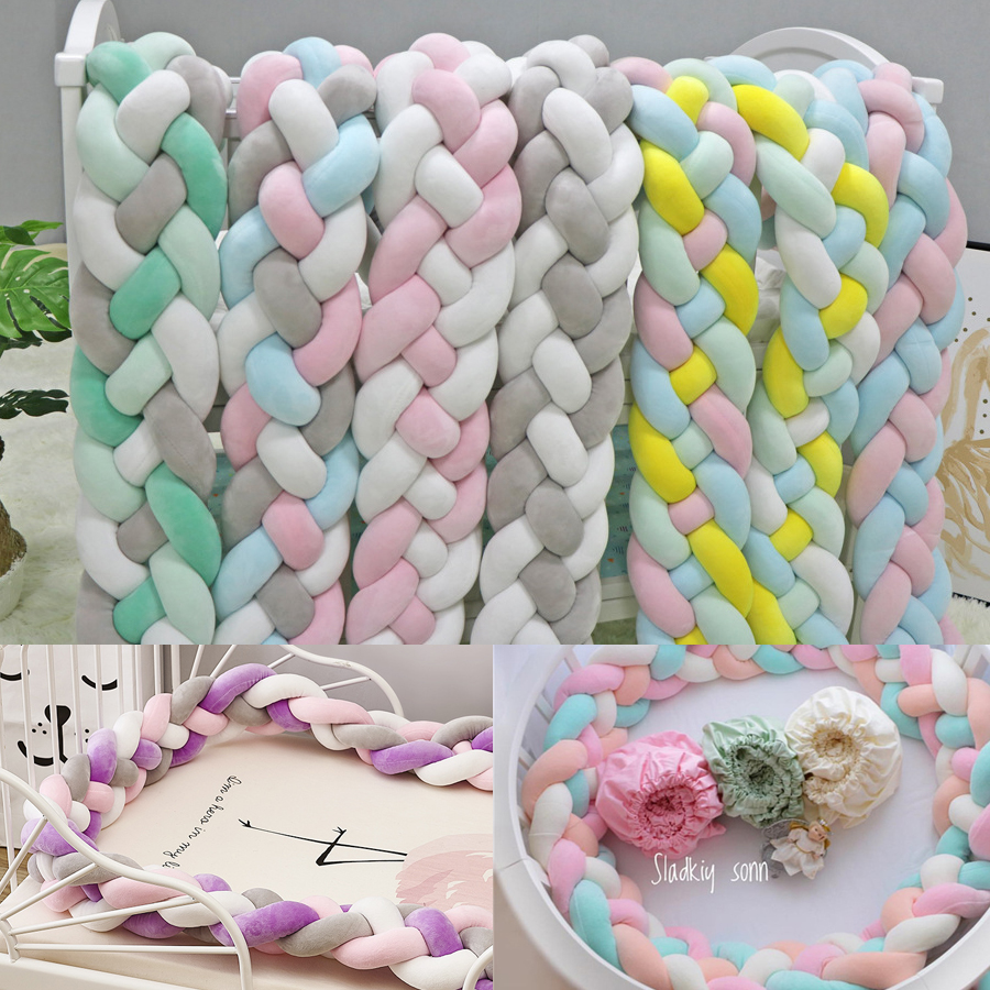 Putonme 4 Braids 2m Knot Soft Baby Bed Bumper Crib Sides Newborn Crib Pad Protection Cot Bumpers Infant Room Decor Plush Toy 6 15pcs lot squqre cot bumpers with crib sheets grey star infant crib bumpers bed protecter