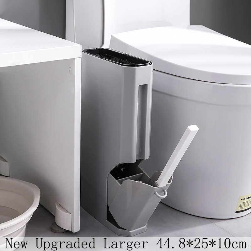 新アップグレード狭い浴室ごみ箱廃棄物ビントイレごみビン蓋トイレブラシでゴミ袋収納容器ゴミ箱