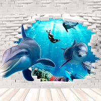 Home Supplies Unique 3D Sitting Living Room Decorative Wall Stickers 3D Dolphins Stickers Underwater World Home Stickers