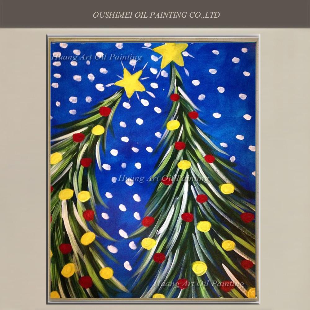 Christmas Tree Paintings On Canvas