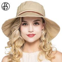 FS grande ancho de ala plegable sombrero de playa Mujer verano algodón Lino  Viseras moda casual cubo has sombreros Mujer feb128896fa
