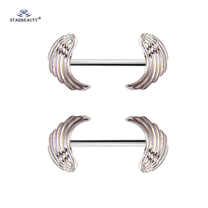 Starbeauty 1 Pair Angel Wing Nipple Ring Feather Sexy Nipple Piercing Shields Surgical Steel Nipple Cover Body Jewelry Earring Пирсинг ушей
