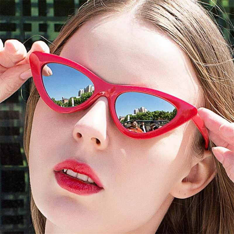 0c5da9d43f Cat Eye Sunglasses Women 2018 New Fashion Triangle Small Size Frame Eyewear  Reb Blue Green Lens