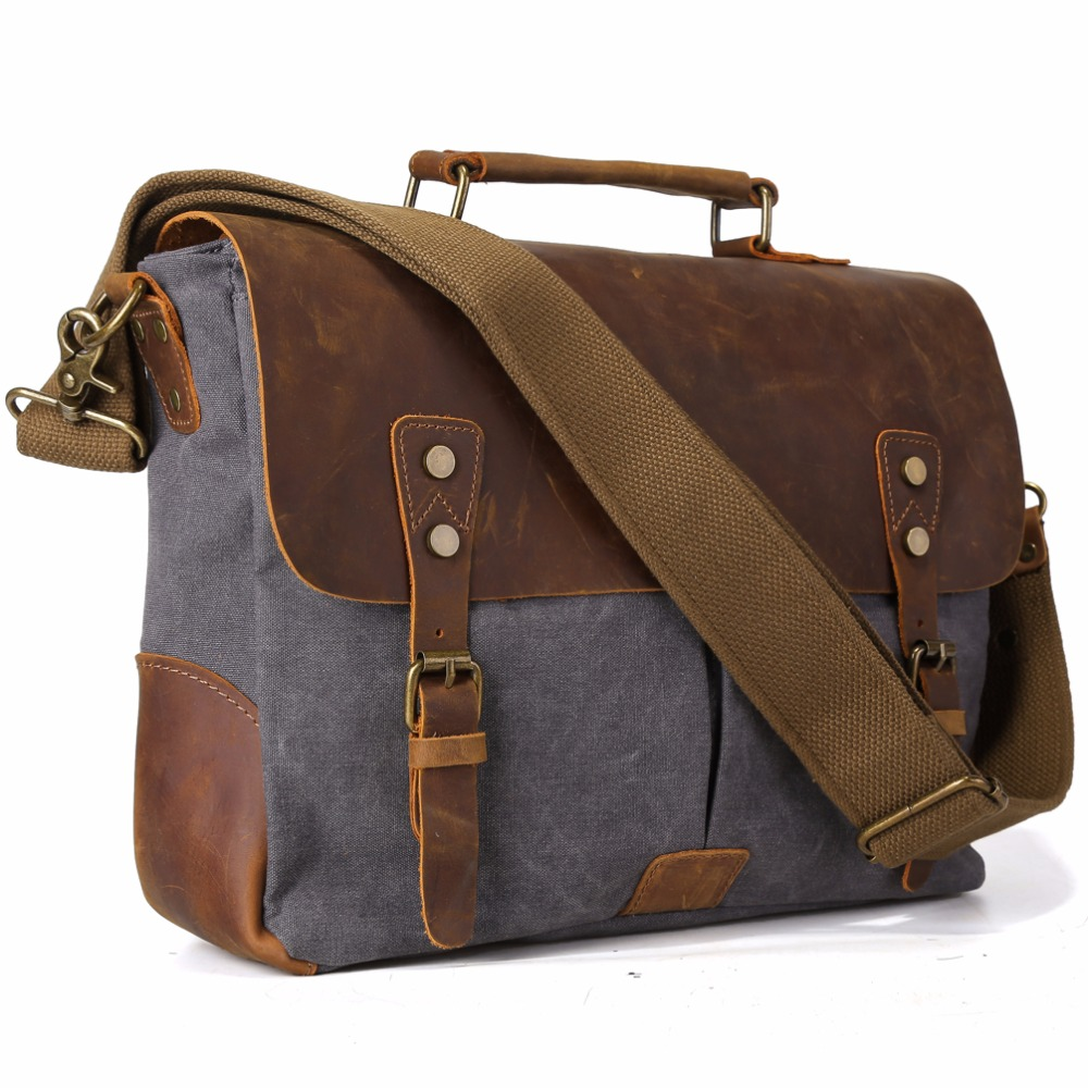 TIDING Men Canvas Tote Bags Leather Hobo Padded Strap Crossbody School Bag Organizer For Macbook Pro