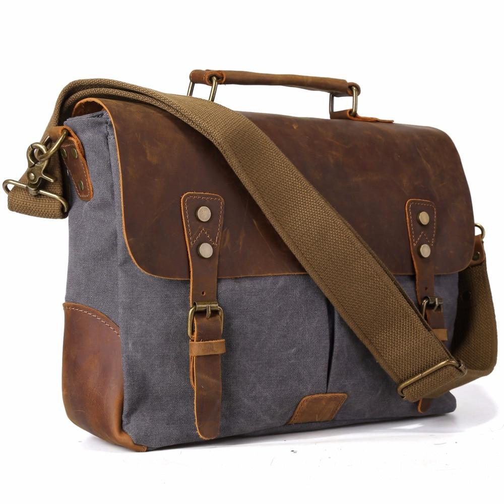 Tiding pria kanvas tote tas hobo kulit empuk tali crossbody tas sekolah organizer untuk macbook pro 11435